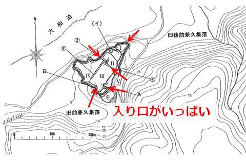 久米島の北西、海沿いに位置する具志川城の縄張図