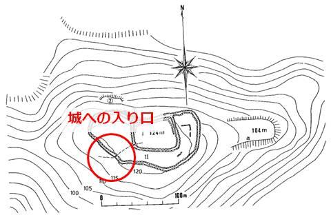 久米島一目立たない城、塩原城の縄張図